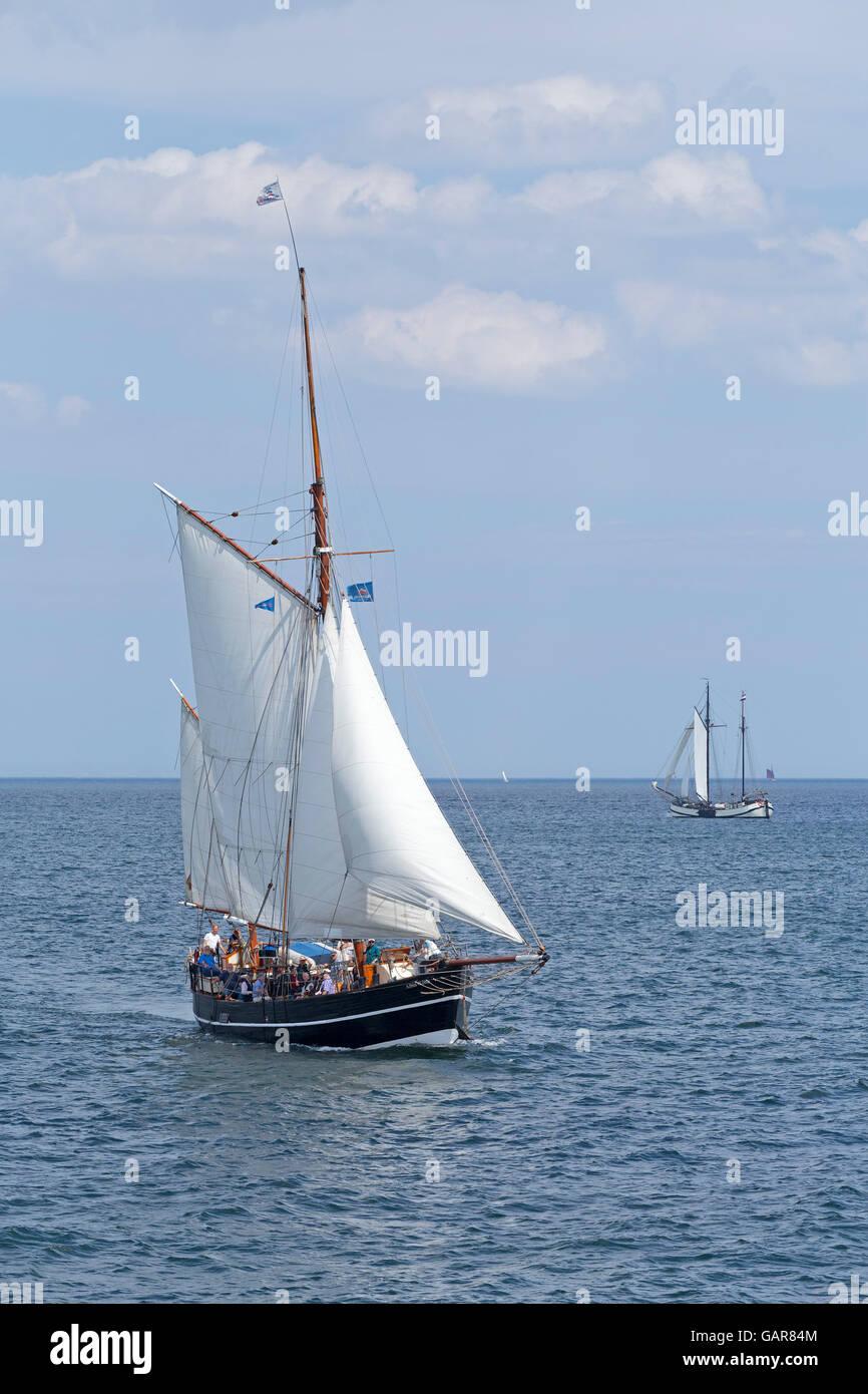 sailing ship ´Albin Köbis´, Kiel Week, Kiel, Schleswig-Holstein, Germany - Stock Image