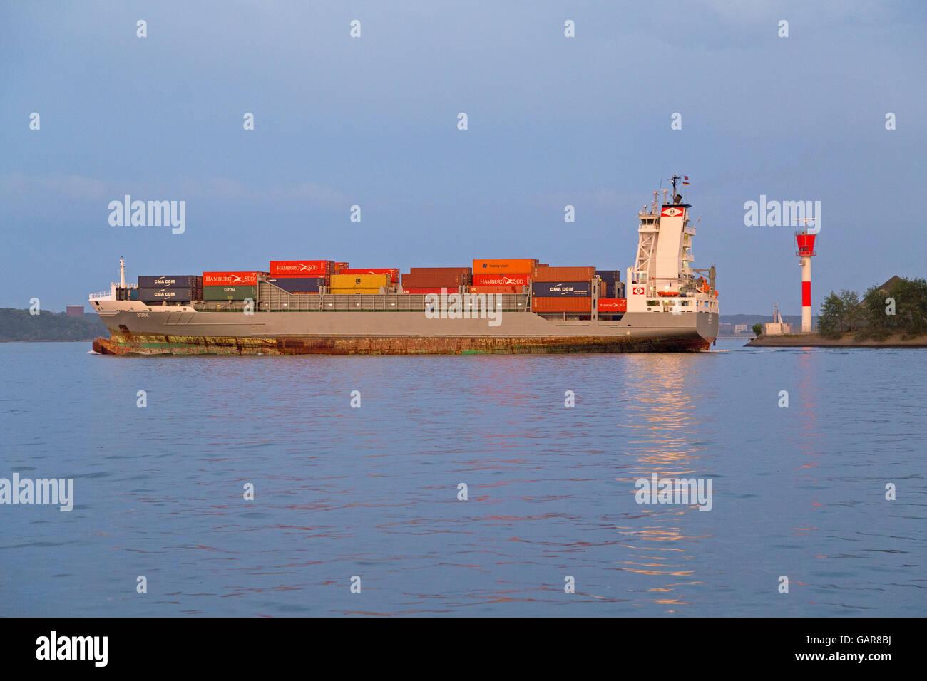 container ship ´Jork´, Kiel, Schleswig-Holstein, Germany - Stock Image