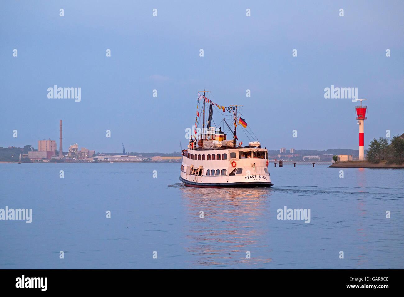 excursion boat, Kiel, Schleswig-Holstein, Germany - Stock Image
