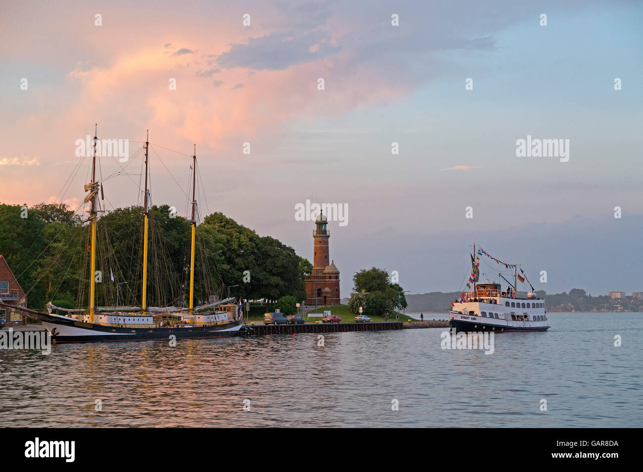 Holtenau Lighthouse, excursion boat, Kiel, Schleswig-Holstein, Germany - Stock Image