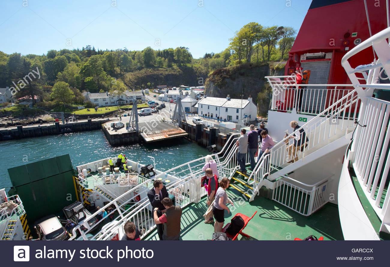 On board the MV Finlaggan Caledonian MacBrayne ferry as it approaches Port Askaig on the Island of Islay, Argyll, Stock Photo