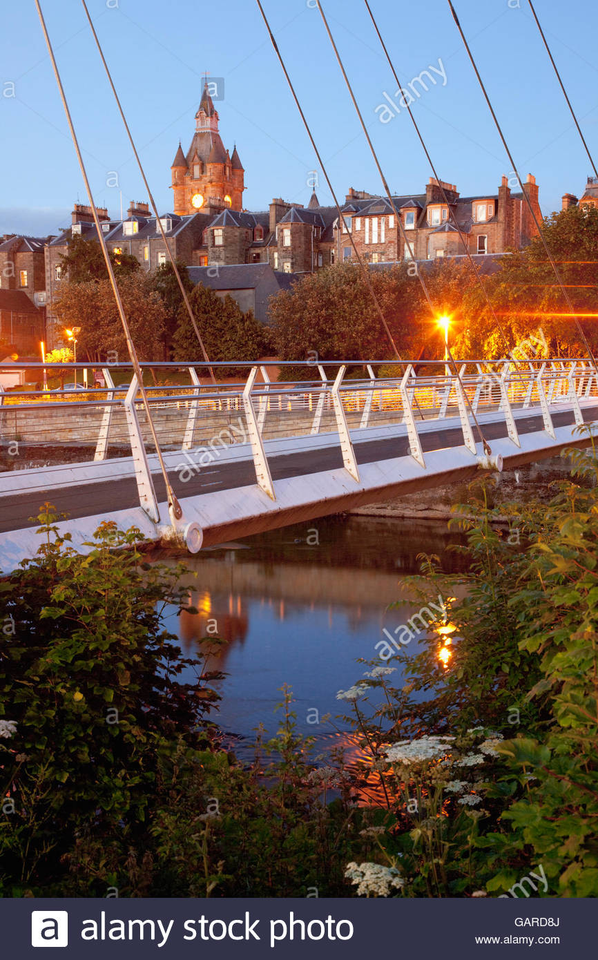 James Thompson Bridge across the River Teviot, Hawick, Scottish Borders, Scotland. - Stock Image