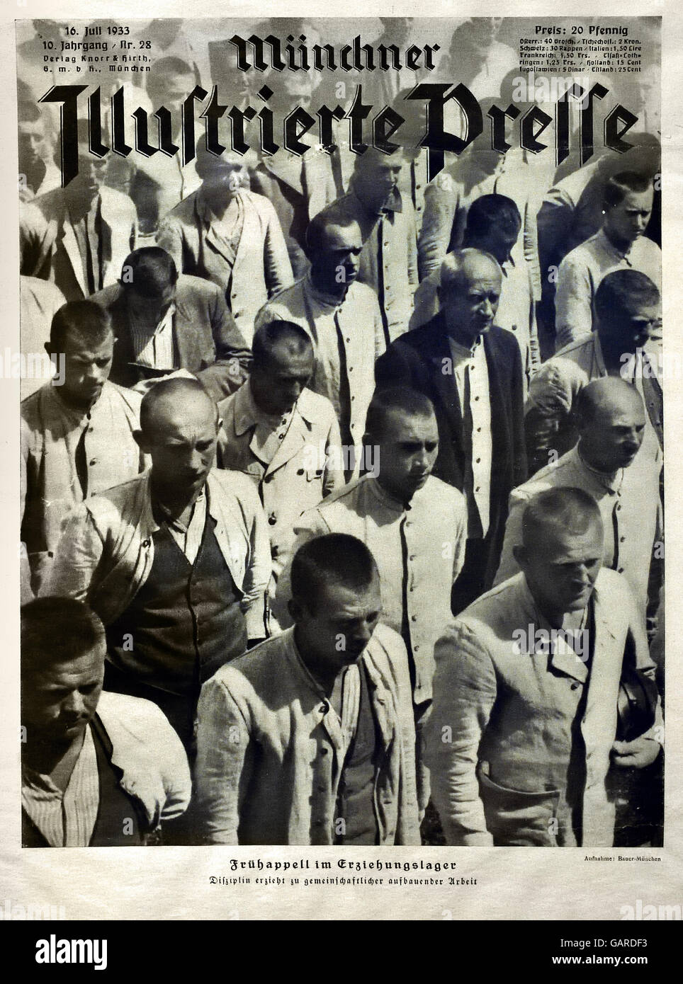 Report in Munich Illustrated Press about the educational camp Dachau Munchen 16 Juli 1933 Berlin Nazi Germany - Stock Image