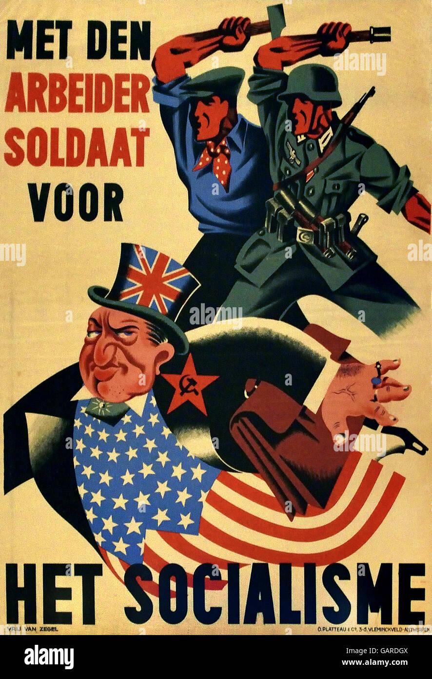 Met den Arbeider soldaat voor Het Socialisme -  the Worker soldier for Socialism  National Socialist propaganda - Stock Image