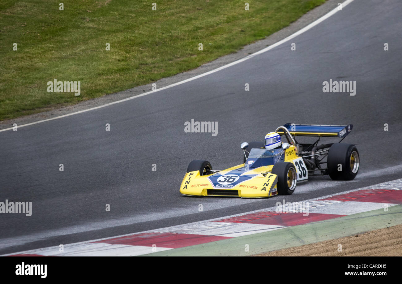 1973 Surtees TS15 racing on track at Brands Hatch, Historic F2 FIA International Series, Legends of Brands Hatch - Stock Image