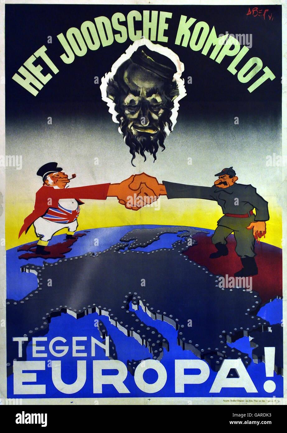 Het Joodsche Komplot tegen Europa - The Jewish Conspiracy against Europe Dutch Newspaper Netherlands - Stock Image