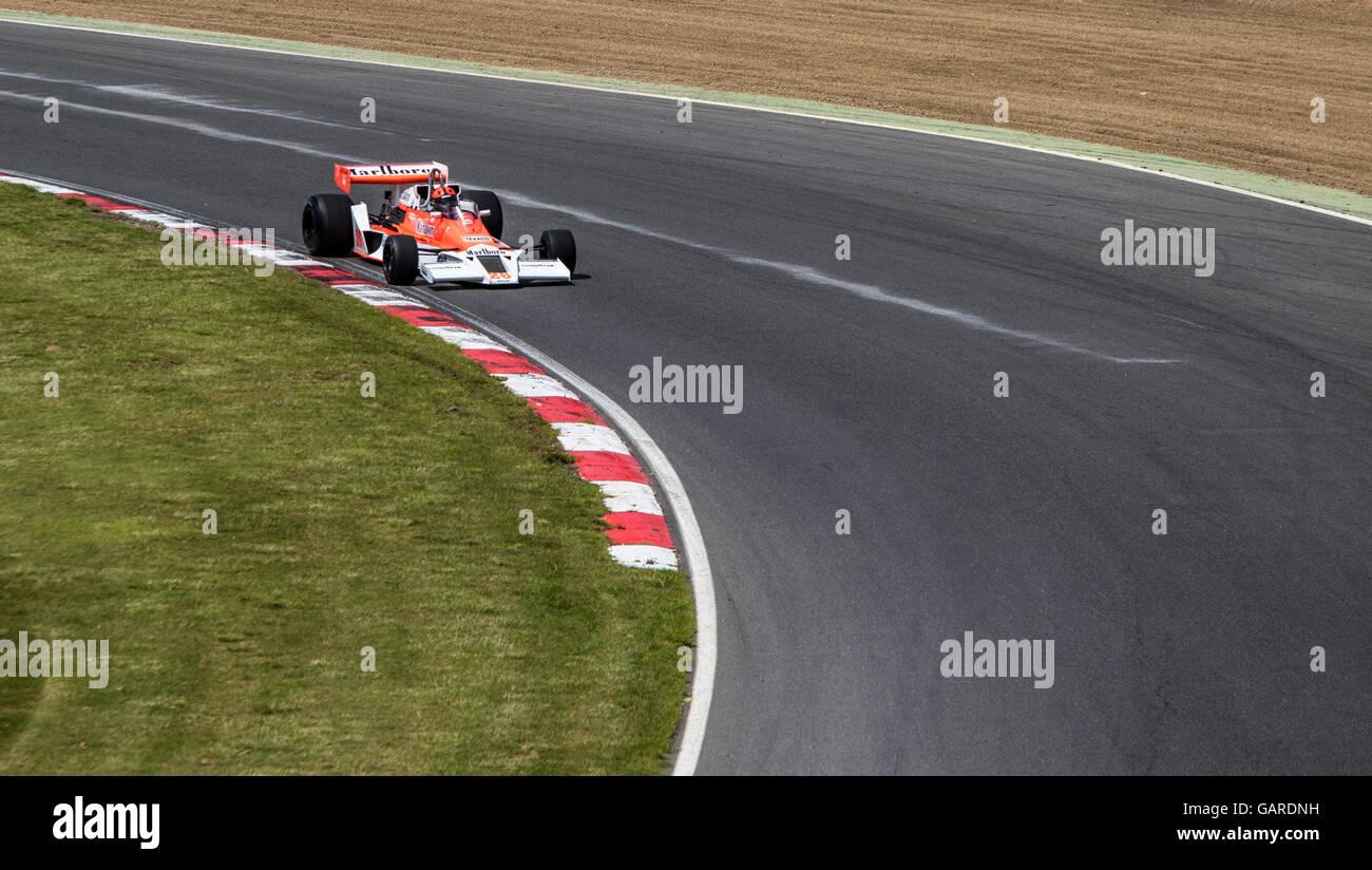 McLaren M23 on track at Brands Hatch, Legends of Brands Hatch Superprix - Stock Image