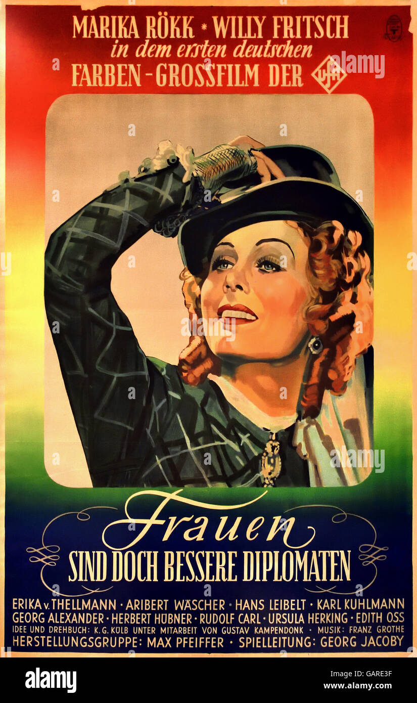 Poster for the first UFA color film Women are Are Better Diplomats 1941 Berlin Nazi Germany - Stock Image
