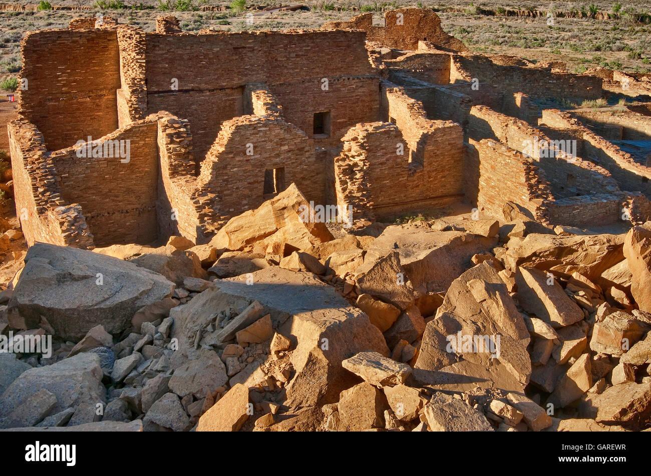Pueblo Bonito, Anasazi Indian ruins, Chaco Culture National Historical Park, New Mexico, USA Stock Photo