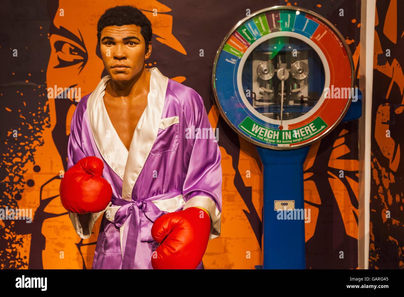 England, London, Madame Tussauds, Wax Figure of Muhammad Ali - Stock Image