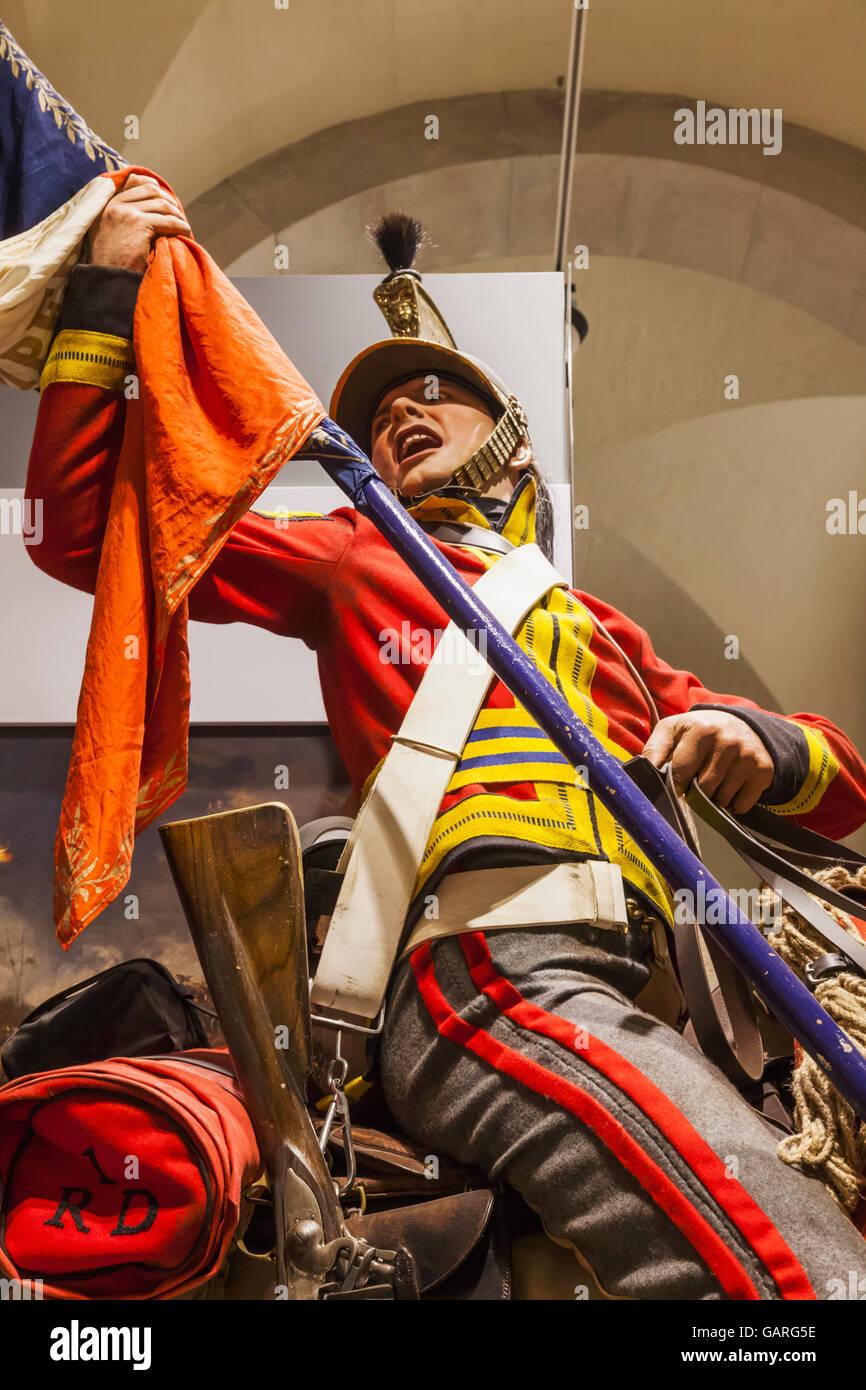 England, London, Whitehall, Household Cavalry Museum, Soldier on Horseback - Stock Image
