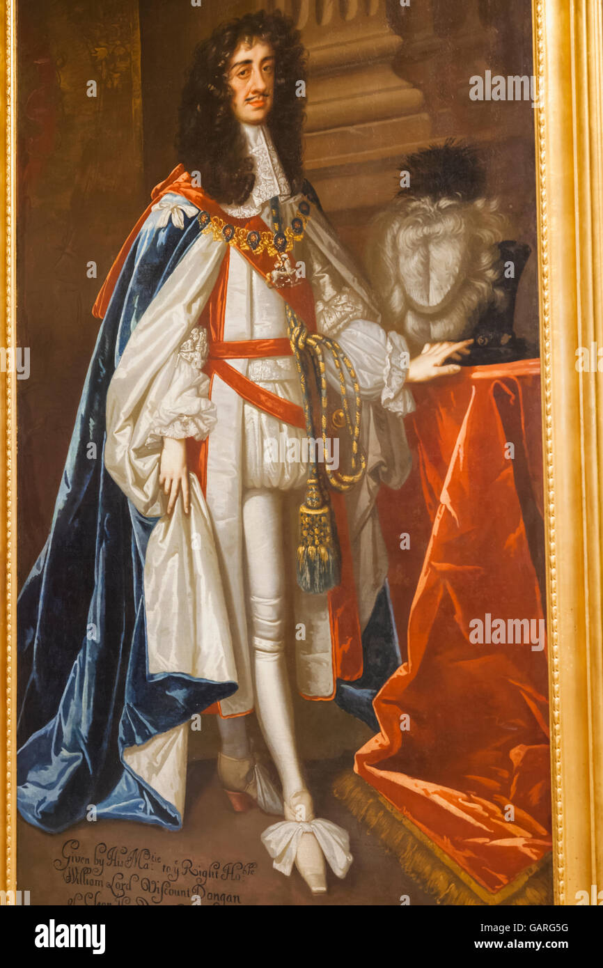 England, London, Whitehall, Household Cavalry Museum, Portrait of King Charles II - Stock Image