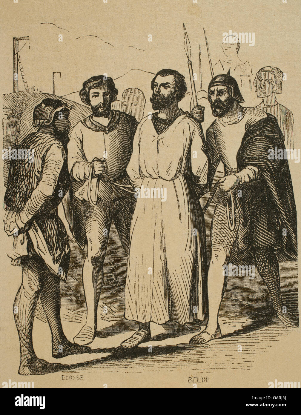 Enguerrand de Marigny (1260-1315). French chamberlain and minister.  Engraving depicting Marigny driven to his execution in the Gibbet of  Montfaucon, ...