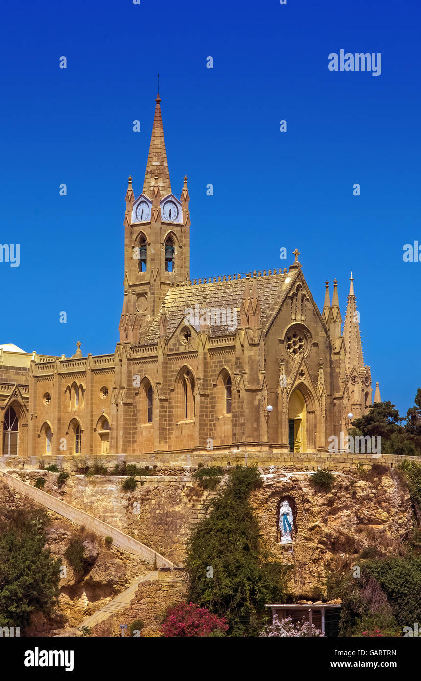 The 20th-century Neo-Gothic Church of Our Lady of Lourdes - Mgarr, Gozo, Malta - Stock Image