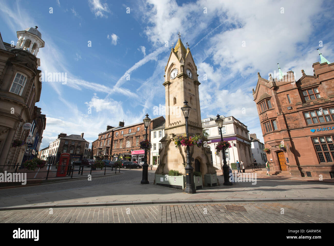 Penrith formerly the capital of Cumbria, Lake District. The historic market town is the hub of the Eden Valley, - Stock Image
