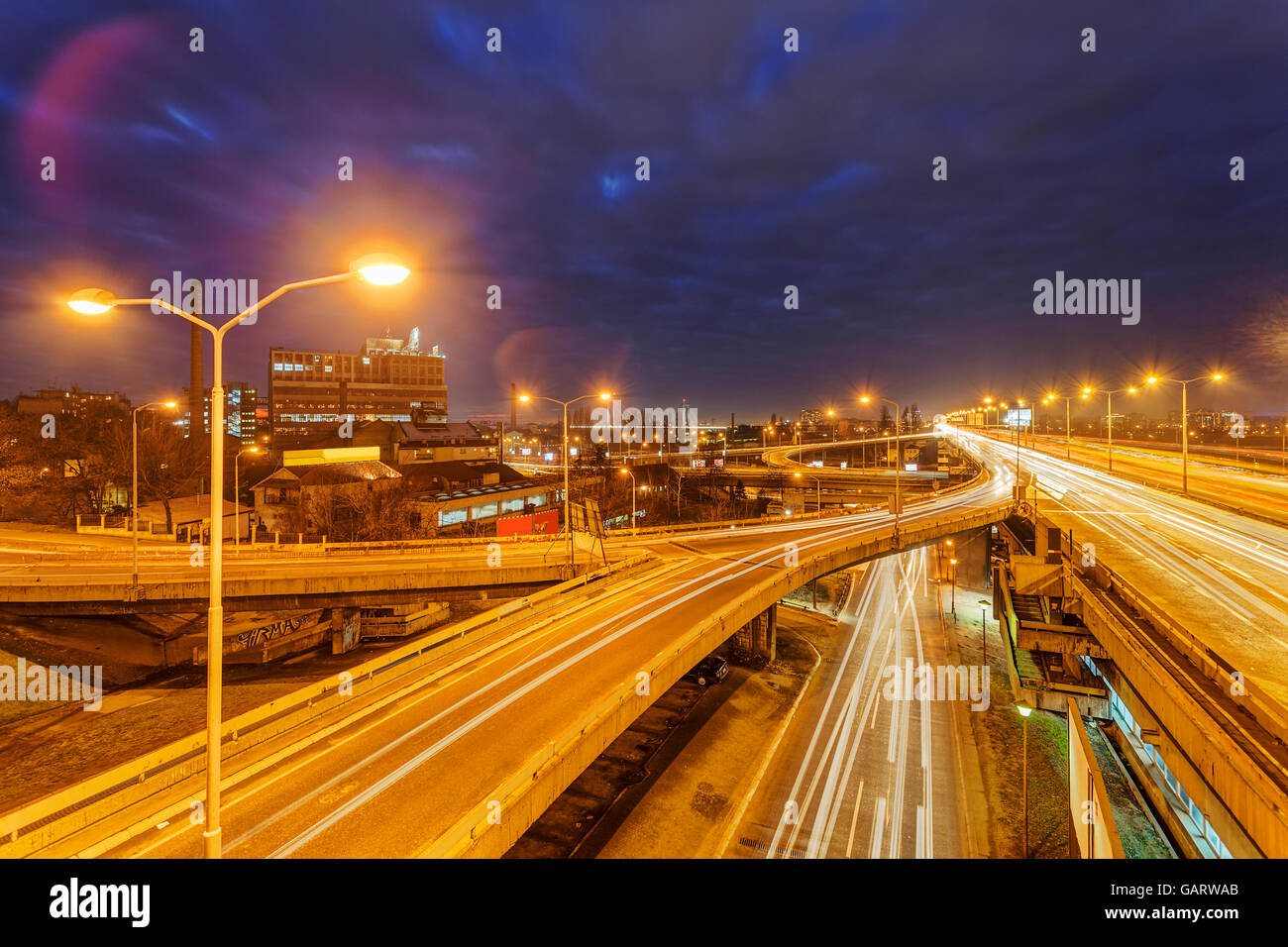 Panorama View On Belgrade Roads At Night Time Surrounded By Street Stock Photo Alamy