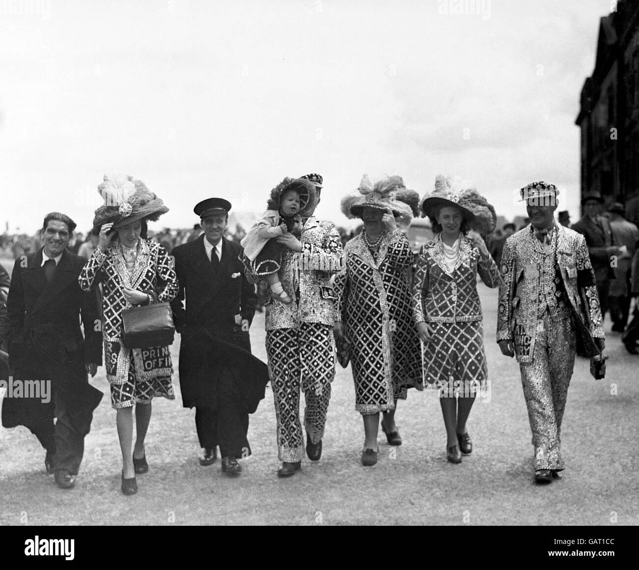 Derby Day Scenes at Epsom Downs 1948 - Stock Image
