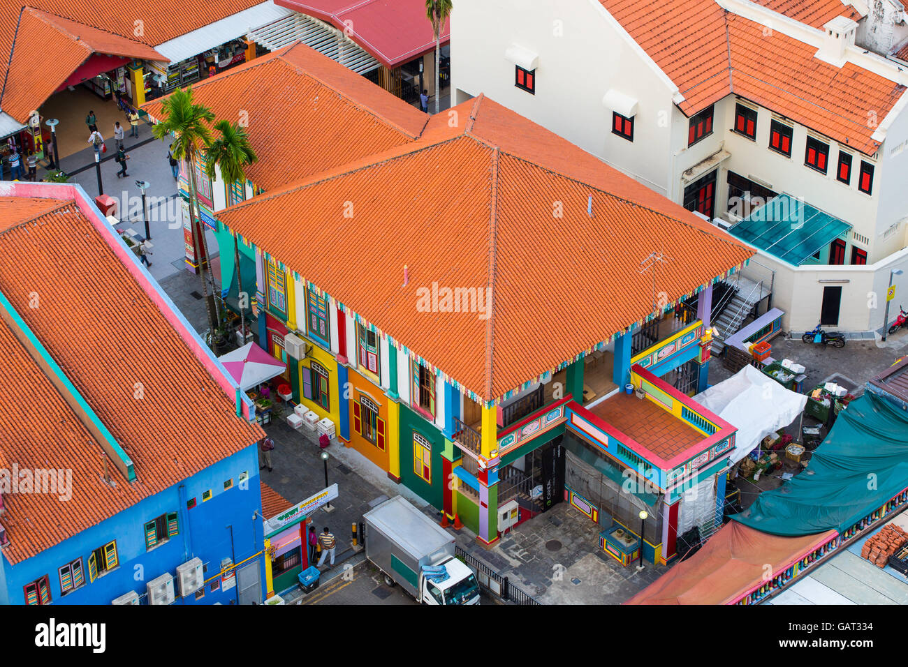 Aerial view of colourful house in the neighbourhood located at Little India, Singapore. - Stock Image