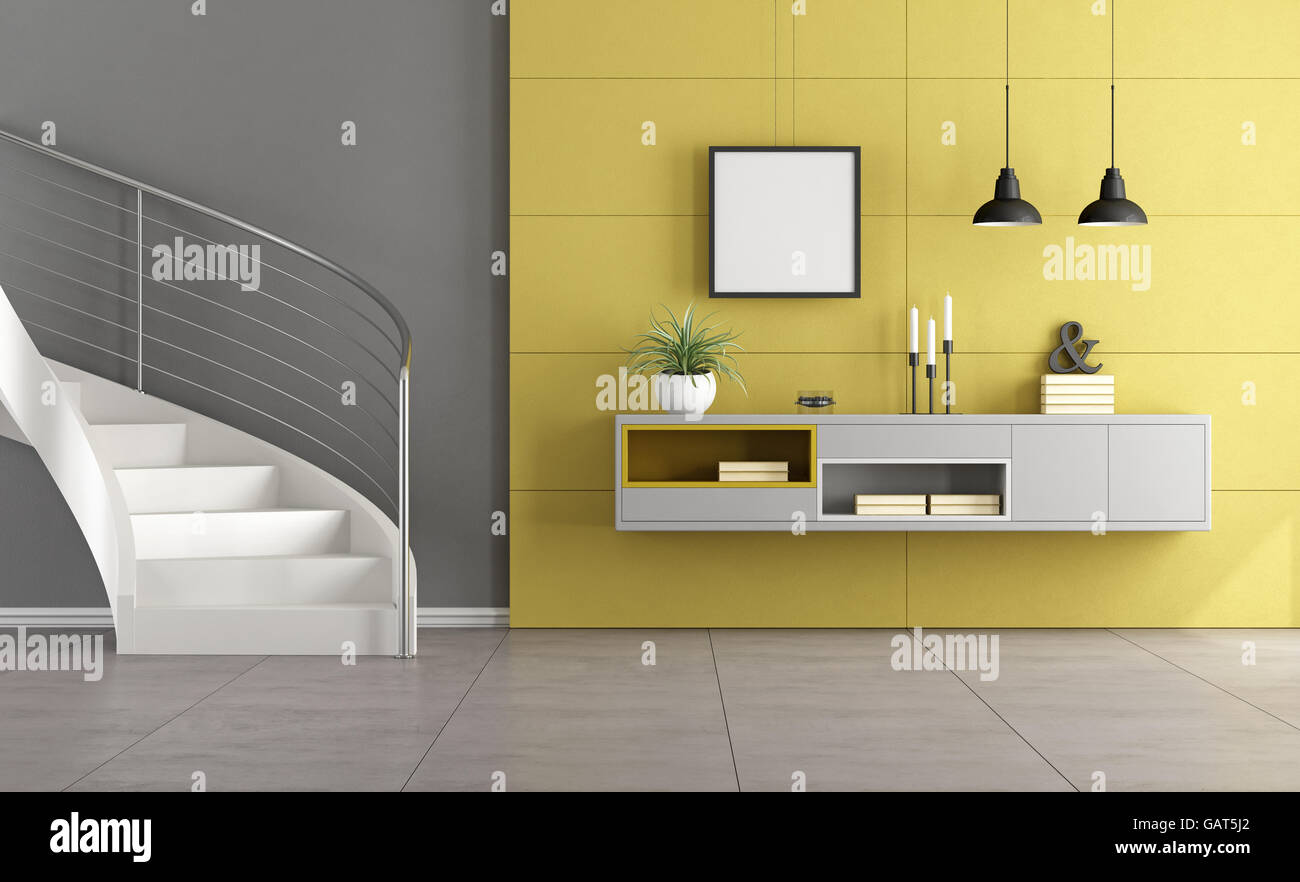 White Stair In A Minimalist Living Room With Gray Sideboard