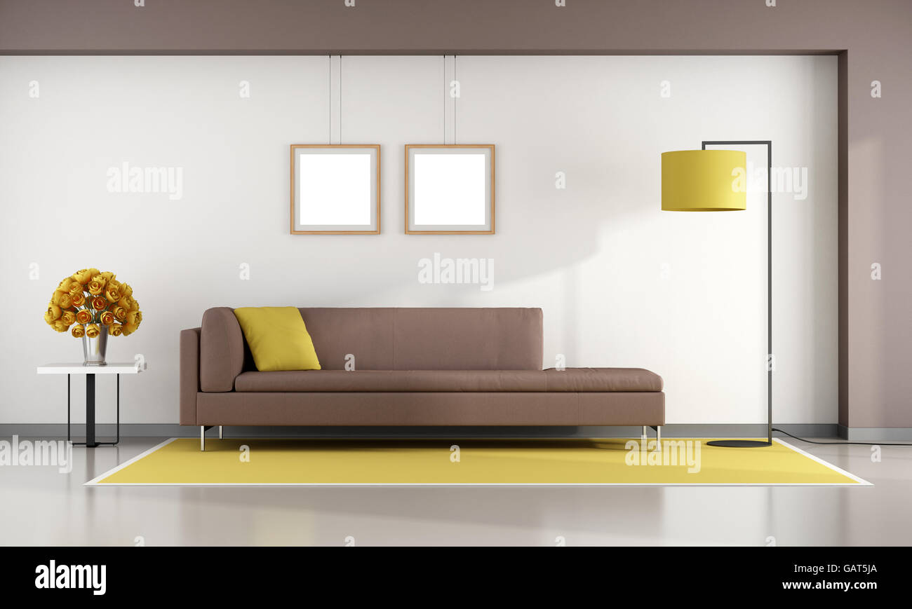 Minimalist living room with brown sofa on yellow carpet - 3d ...