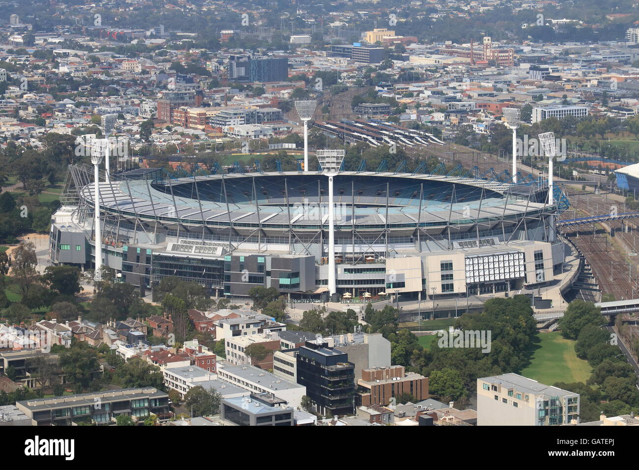 Melbourne cityscape and Melbourne Cricket Ground Australia - Stock Image