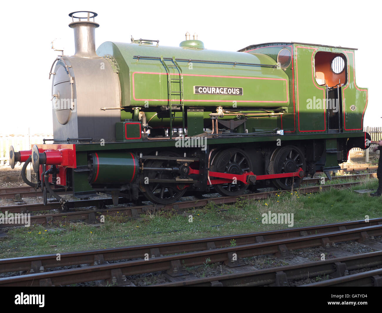 Courageous a 0-6-0 Bagnall steam  locomotive number 2680 on the Lincolnshire Wolds Railway Ludborough Lincolnshire - Stock Image