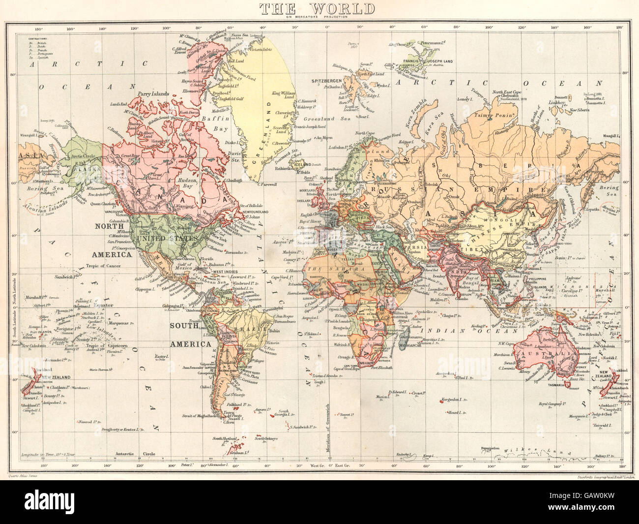 WORLD: The World. Stanford, 1892 antique map Stock Photo