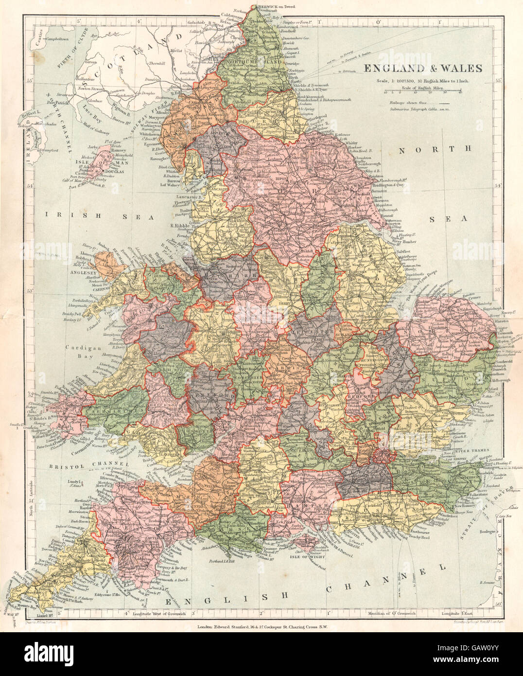 ENGLAND: England & Wales. Stanford, 1892 antique map - Stock Image