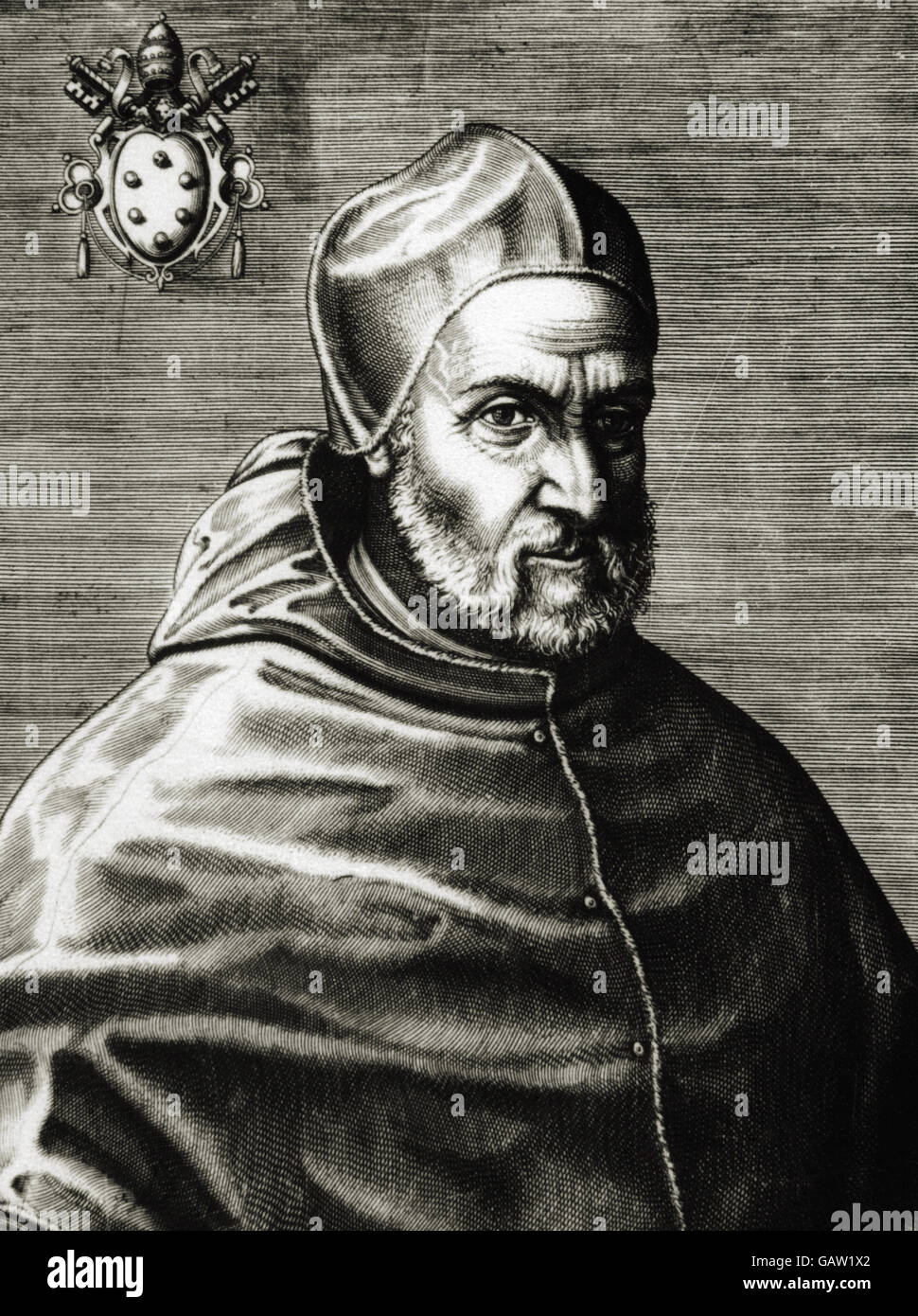 Pius IV (Milan ,1499-Rome, 1565). Italian pope, named Giovanni Angelo Medici. Portrait. Engraving - Stock Image