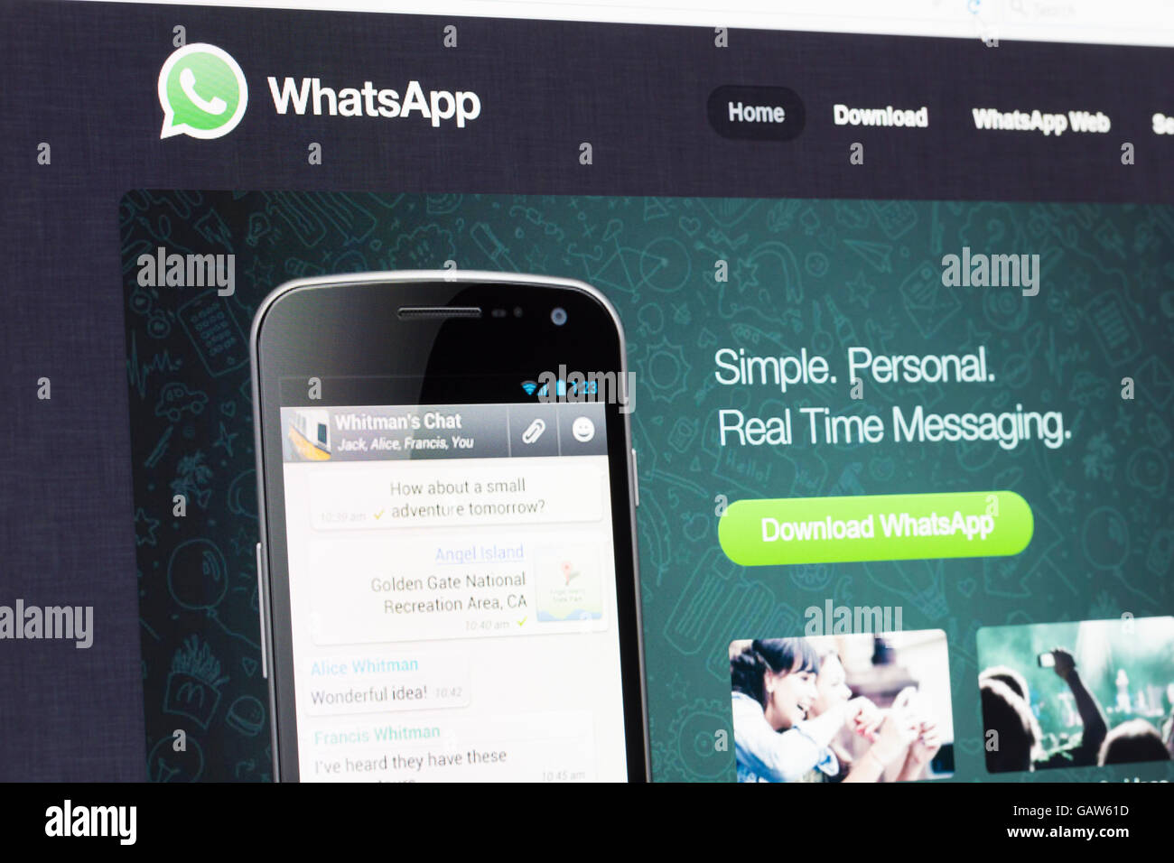 Whatsapp Screen Stock Photos & Whatsapp Screen Stock Images