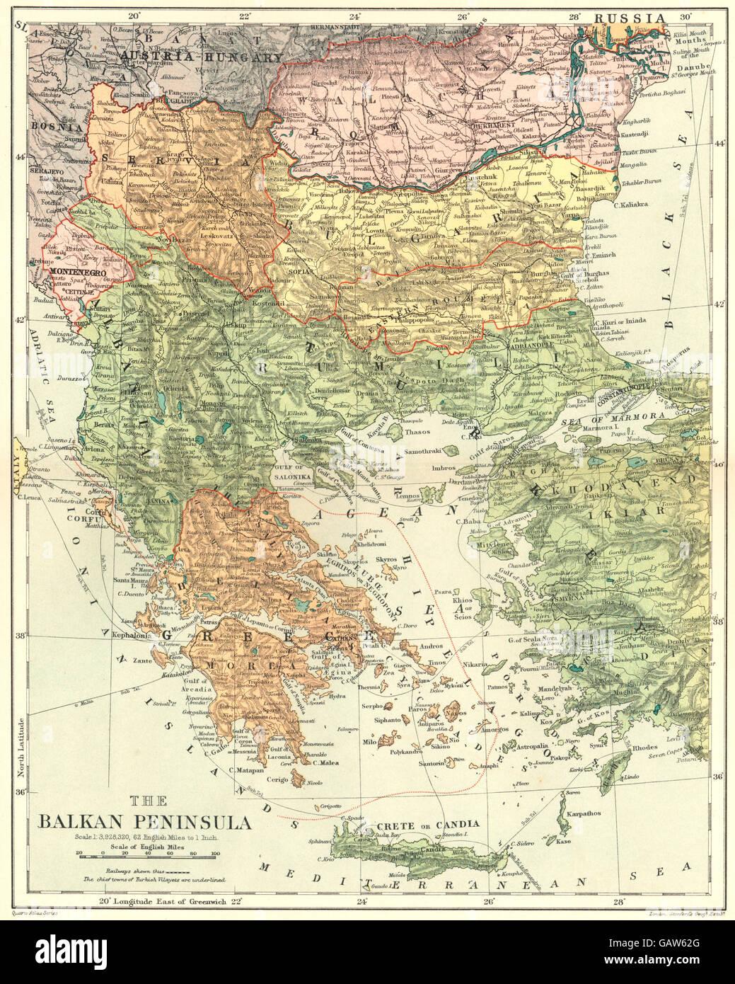 Balkan Peninsula: Greece Serbia Bulgaria Wallachia Rumili. Stanford ...