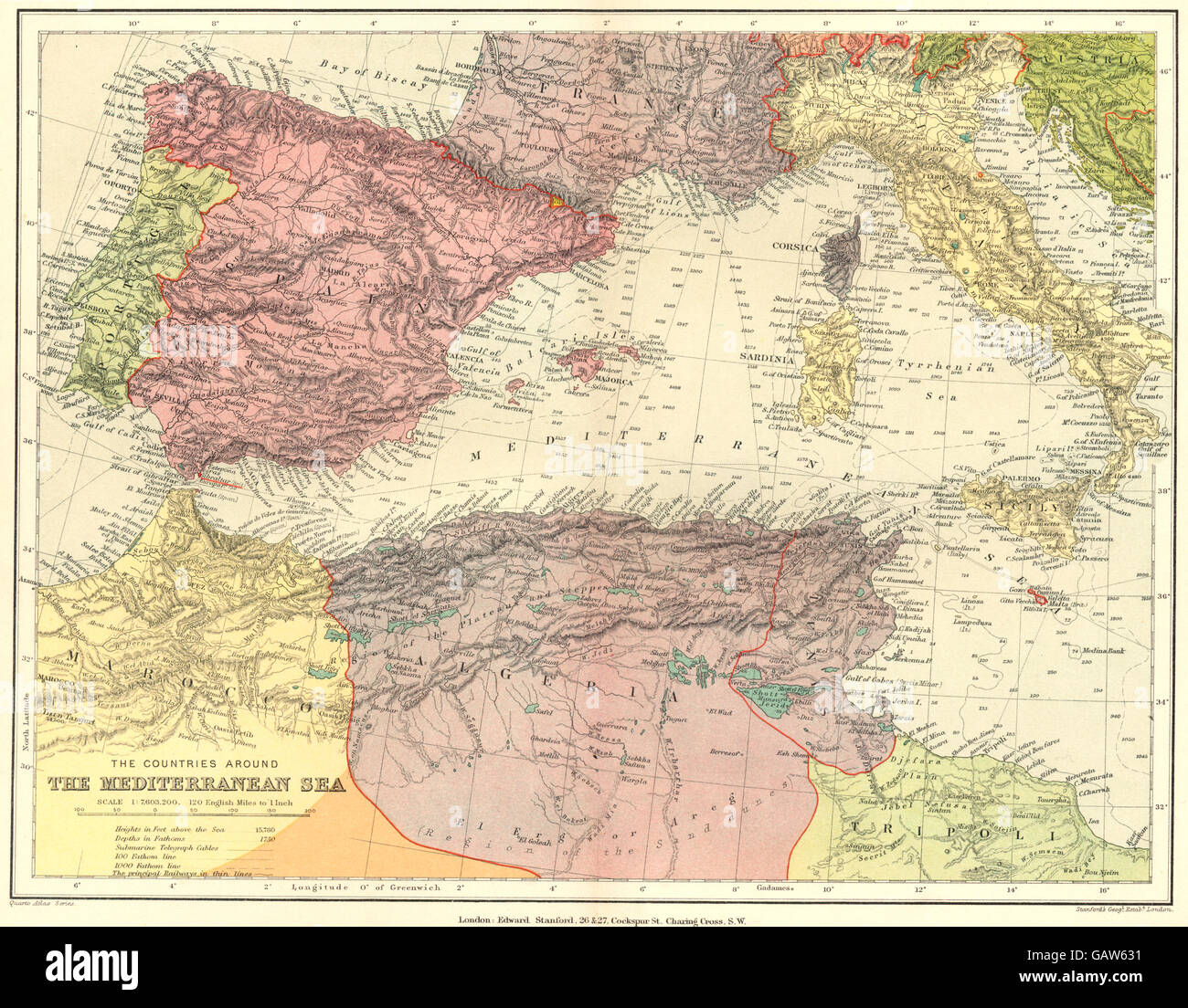 Map Of Spain Portugal And Italy.Western Mediterranean Spain Portugal Morocco Algeria Italy Stock