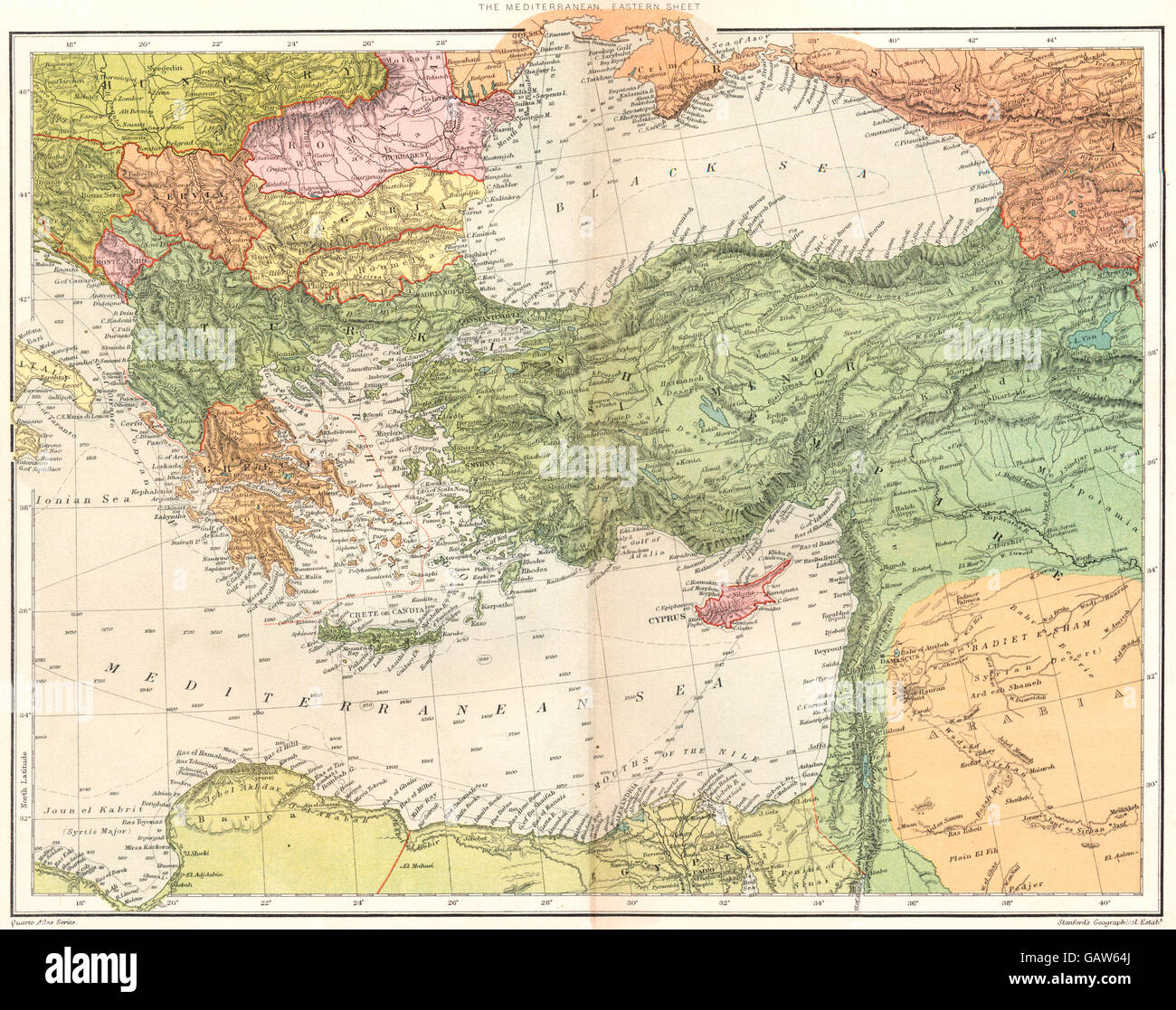 Eastern mediterranean greece egypt turkey cyprus ottoman emp stock eastern mediterranean greece egypt turkey cyprus ottoman emp stanford 1892 map gumiabroncs Image collections