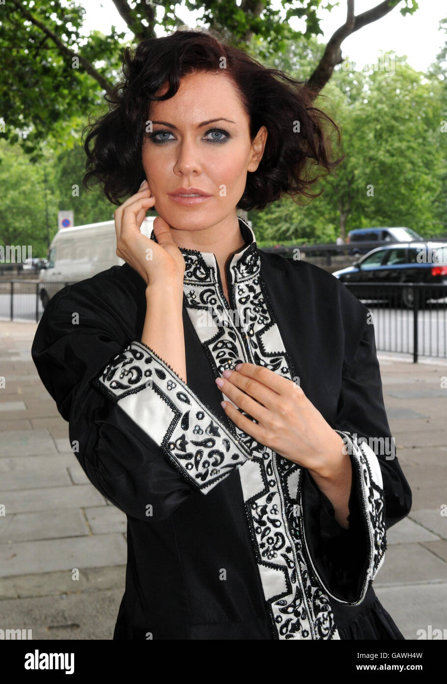Linzi Stoppard Models The Most Expensive Abaya - London Stock Photo