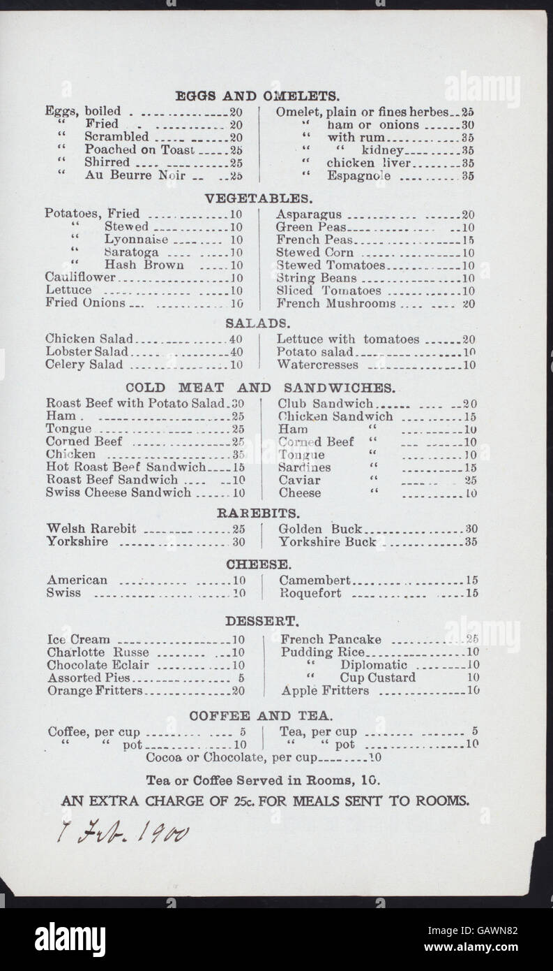 DAILY MENU (held by) KNICKERBOCKER HOTEL RESTAURANT (at)  384 AND 385 WEST STREET (NEWYORK, NY)  (REST;) ( Hades Stock Photo