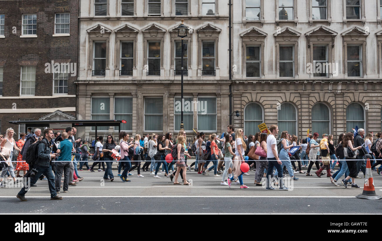 London, UK.  5 July 2016.  Thousands of teachers on strike march down Whitehall taking part in a rally in central - Stock Image