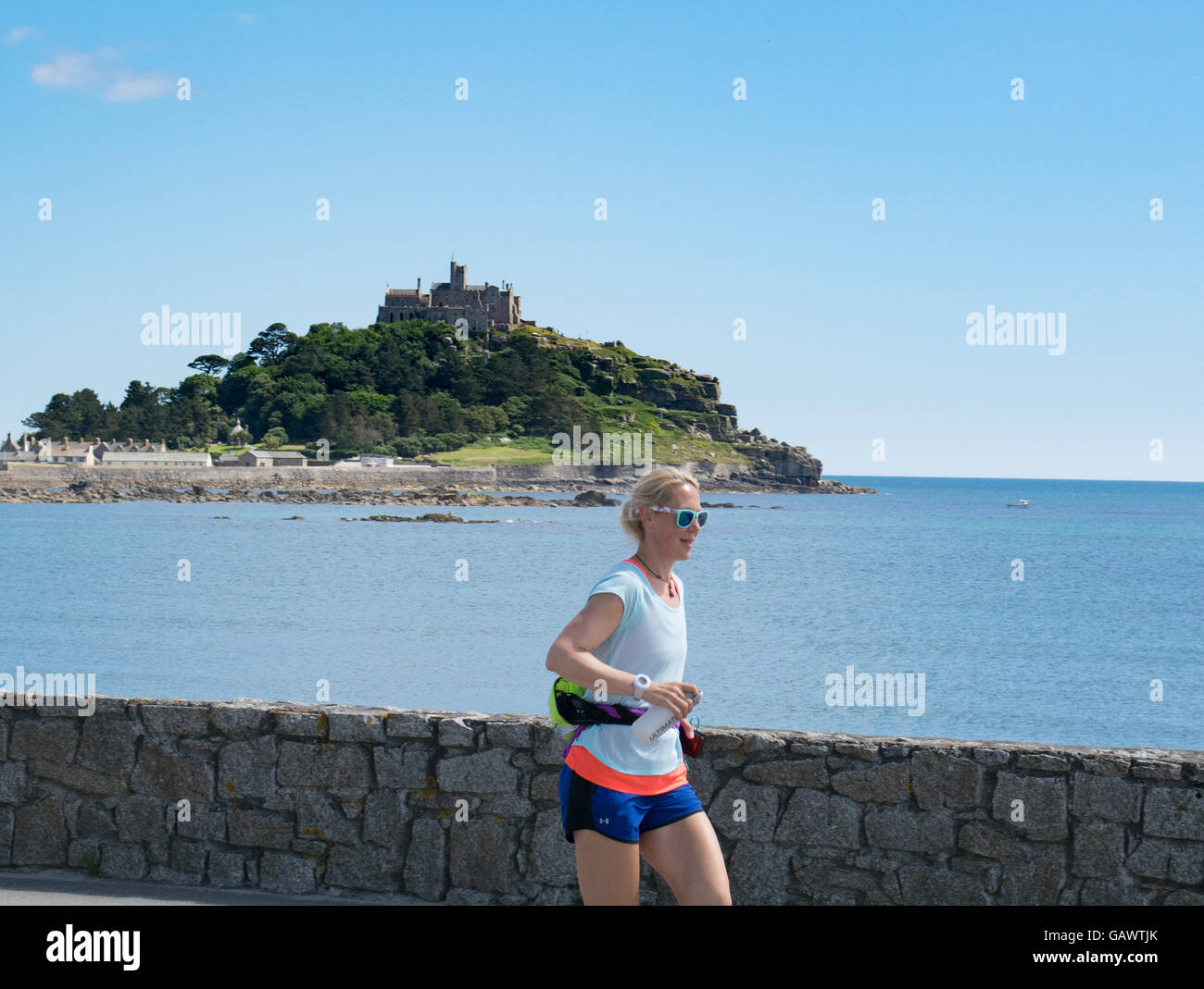 Marazion, Cornwall, UK. 5th July 2016. Former police firearms officer, Yvie Johnson, who suffers from bipolar disorder, - Stock Image