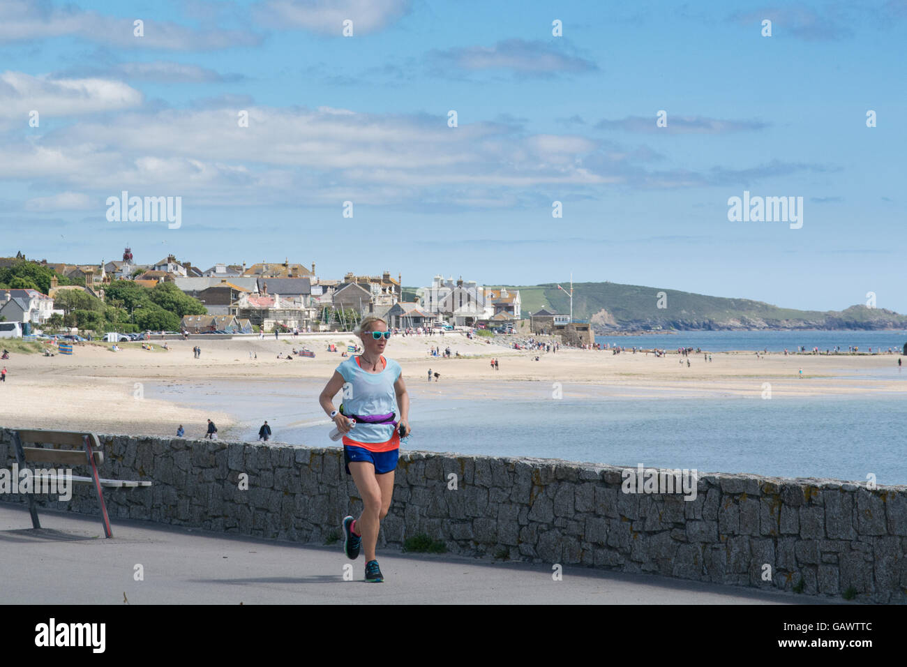 Marazion, Cornwall, UK. 5th July 2016. Former police firearms officer, Yvie Johnson,   who suffers from bipolar - Stock Image