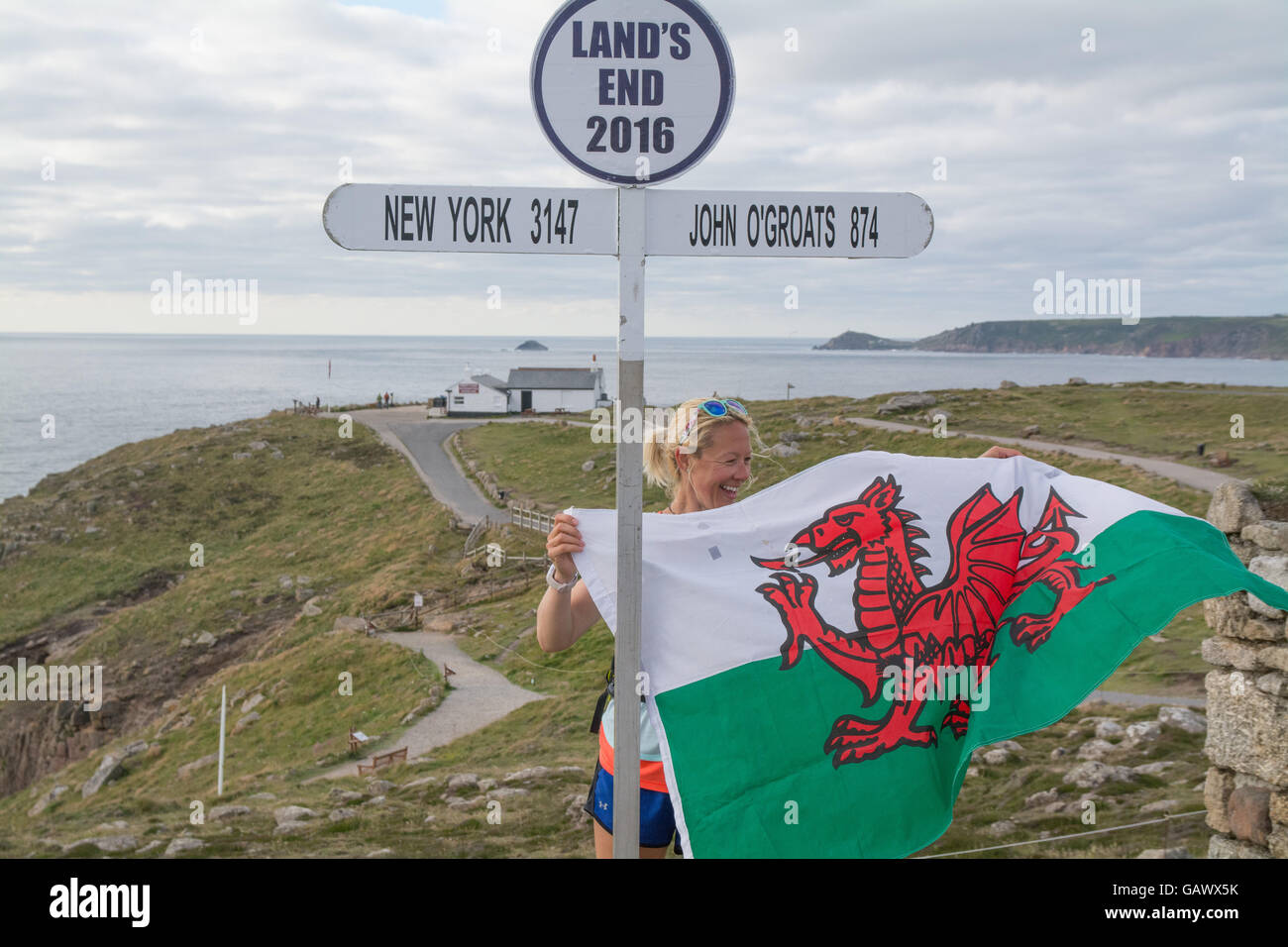 Lands End, Cornwall, UK. 5th July 2016. Former police firearms officer, Yvie Johnson,   who suffers from bipolar - Stock Image