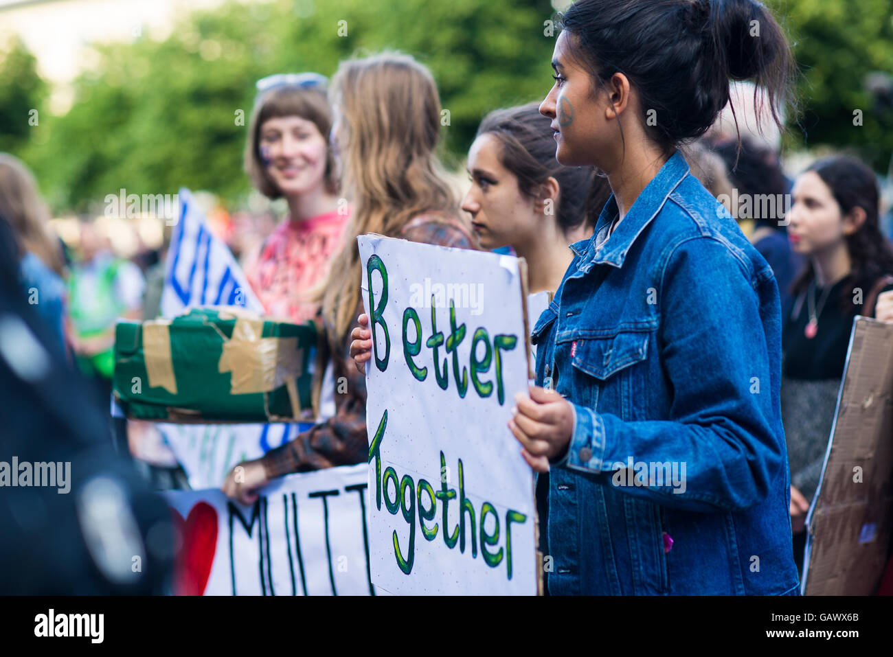 : Liverpool, UK, 5th June 2016. A group of people holding pro EU placards at the  'Stand together Liverpool' rally - Stock Image