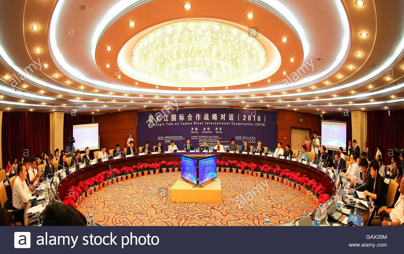 Yanji, China. 06th July, 2016. The representatives of political and academia from four countries make the communication - Stock Image