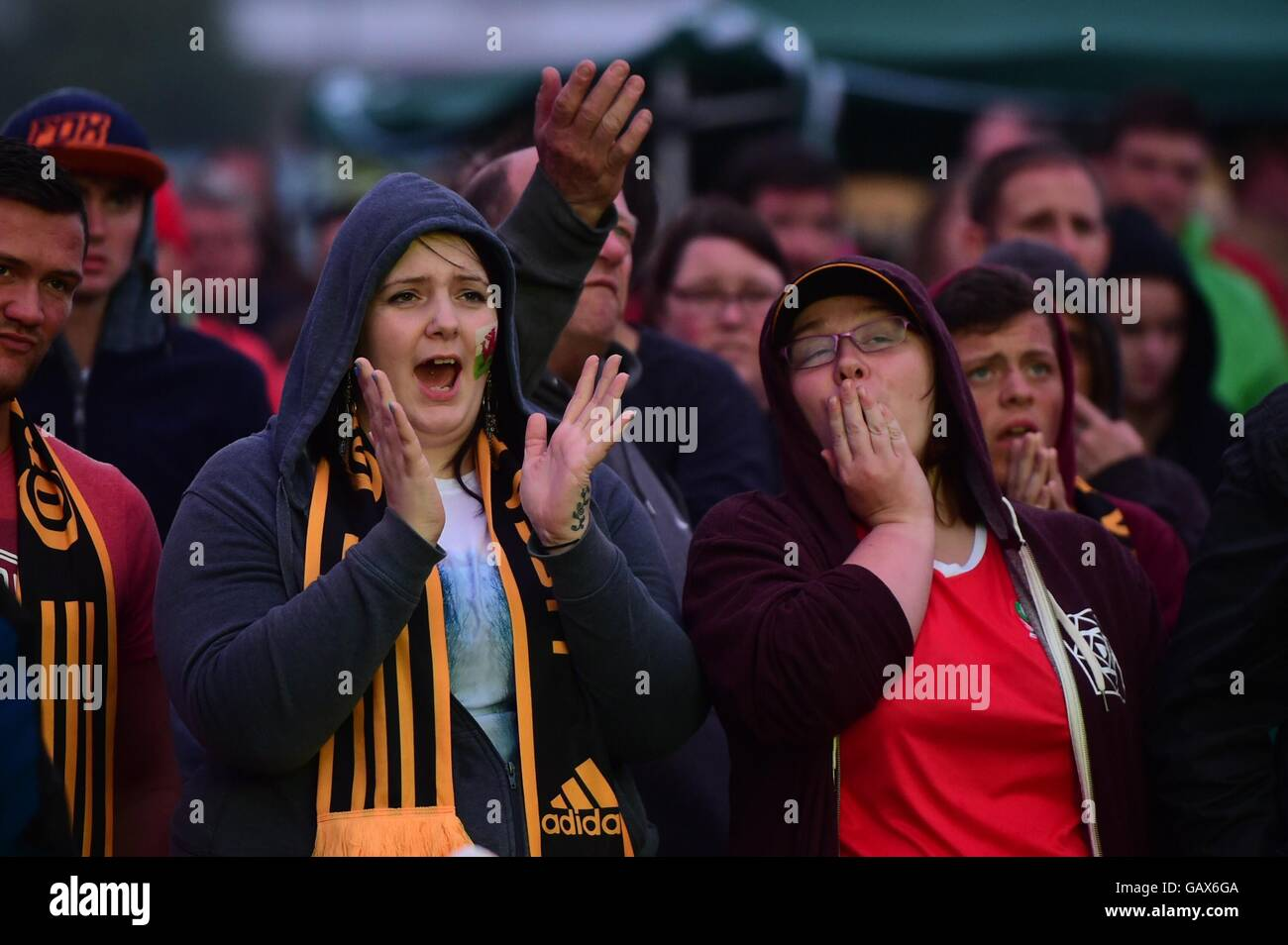 Aberystwyth Wales UK, Wednesday 06 July 2016  Hundred of avid Wales soccer fans gather at the 6m wide screen in Stock Photo
