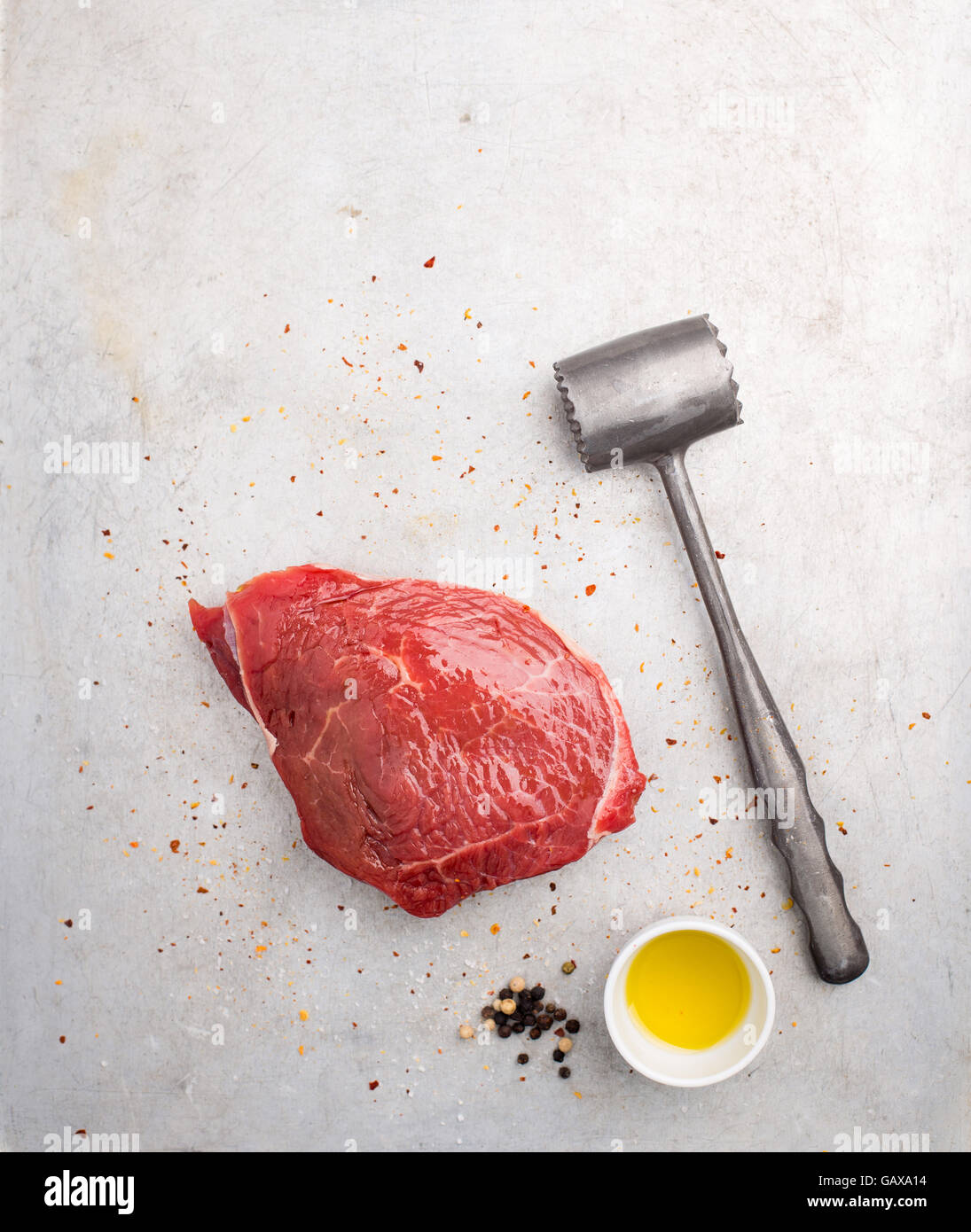 Piece of raw beef ready for cooking - Stock Image