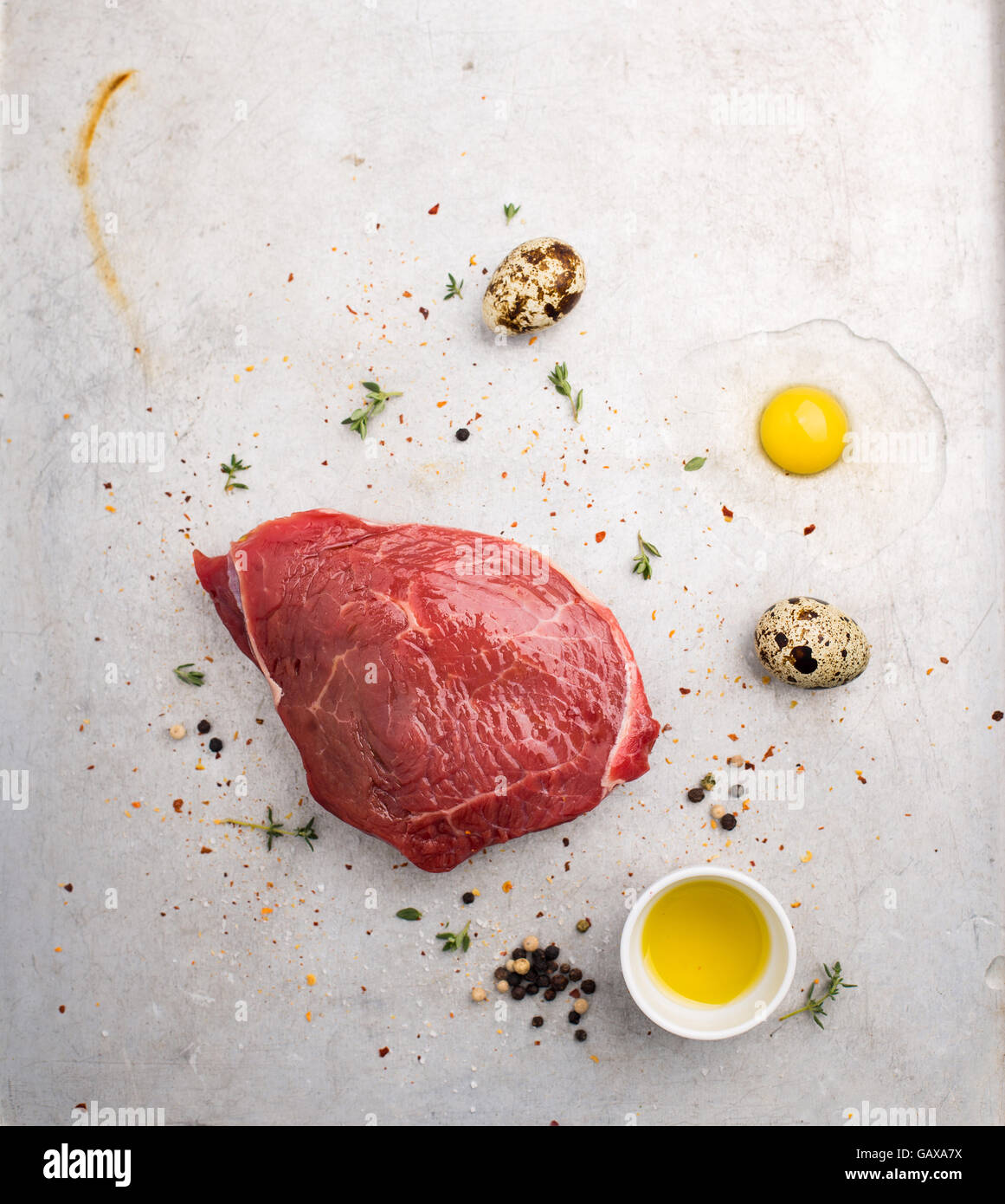 Raw products prepared for making dish shot from above - Stock Image