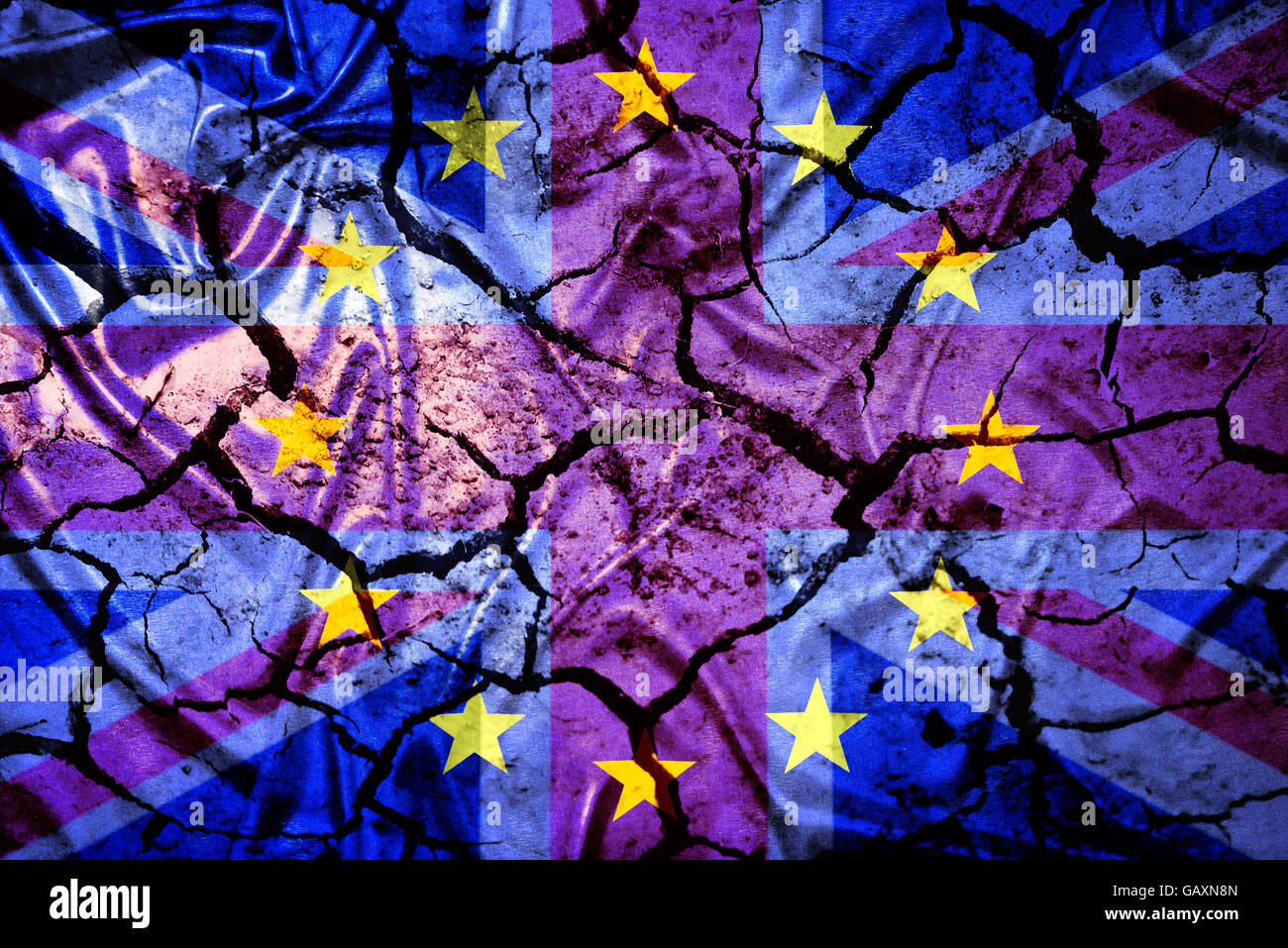 Flags of Great Britain and EU on cracked ground Stock Photo