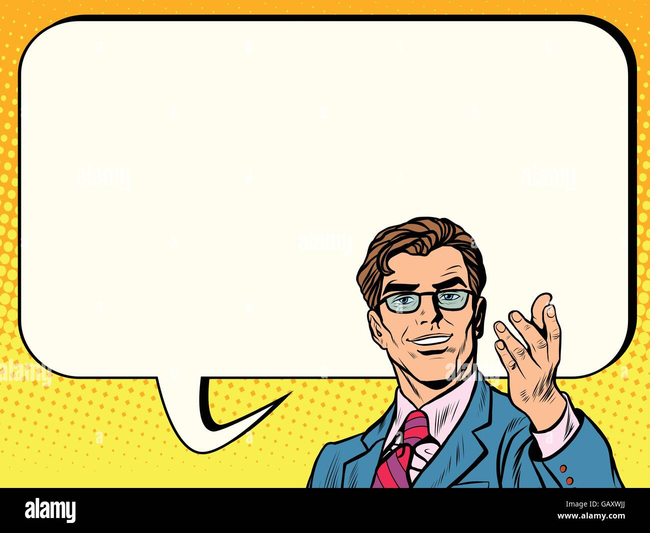 Business man poster comic bubble - Stock Vector