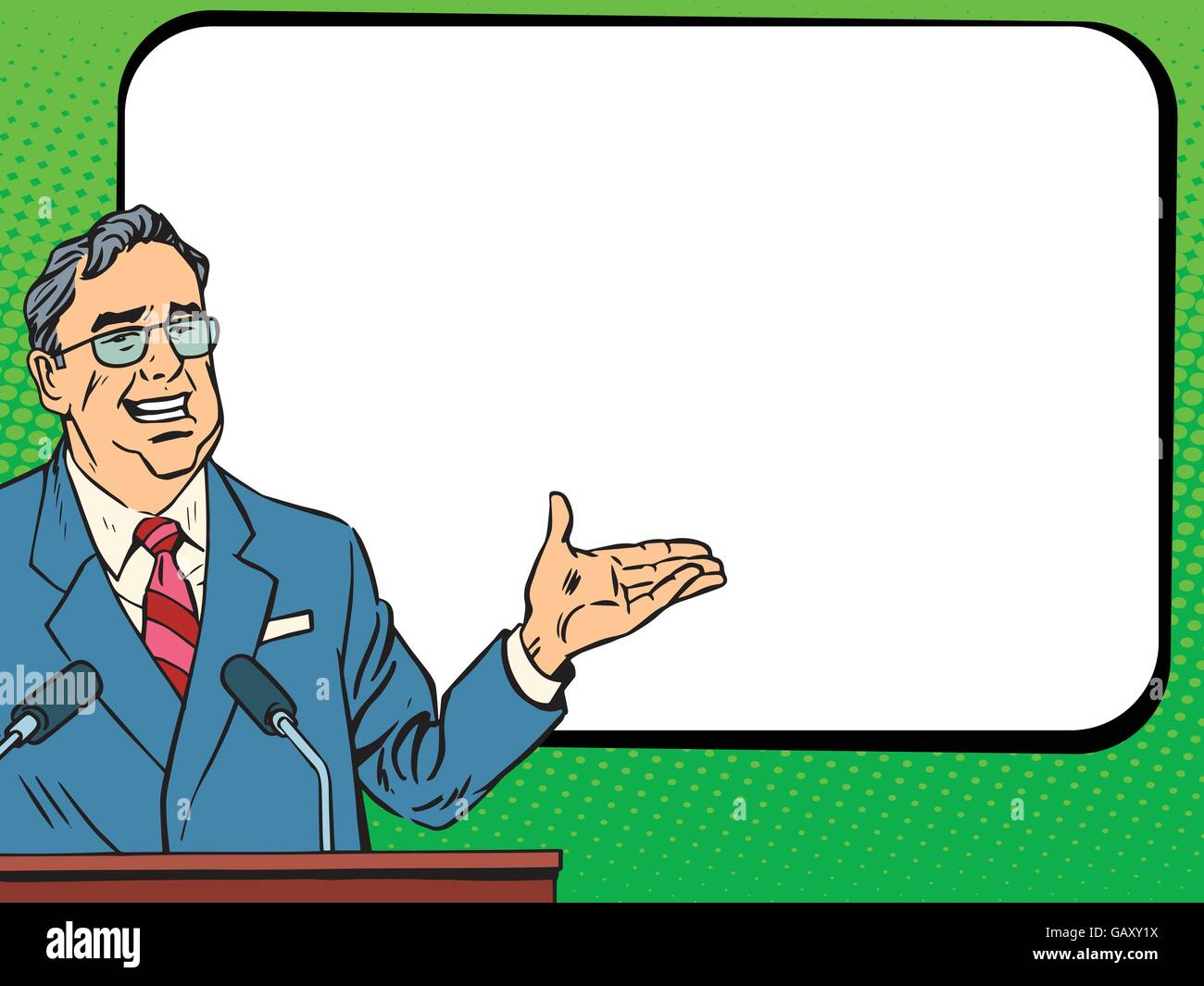 Boss business man speaking at podium, lecture or presentation - Stock Vector