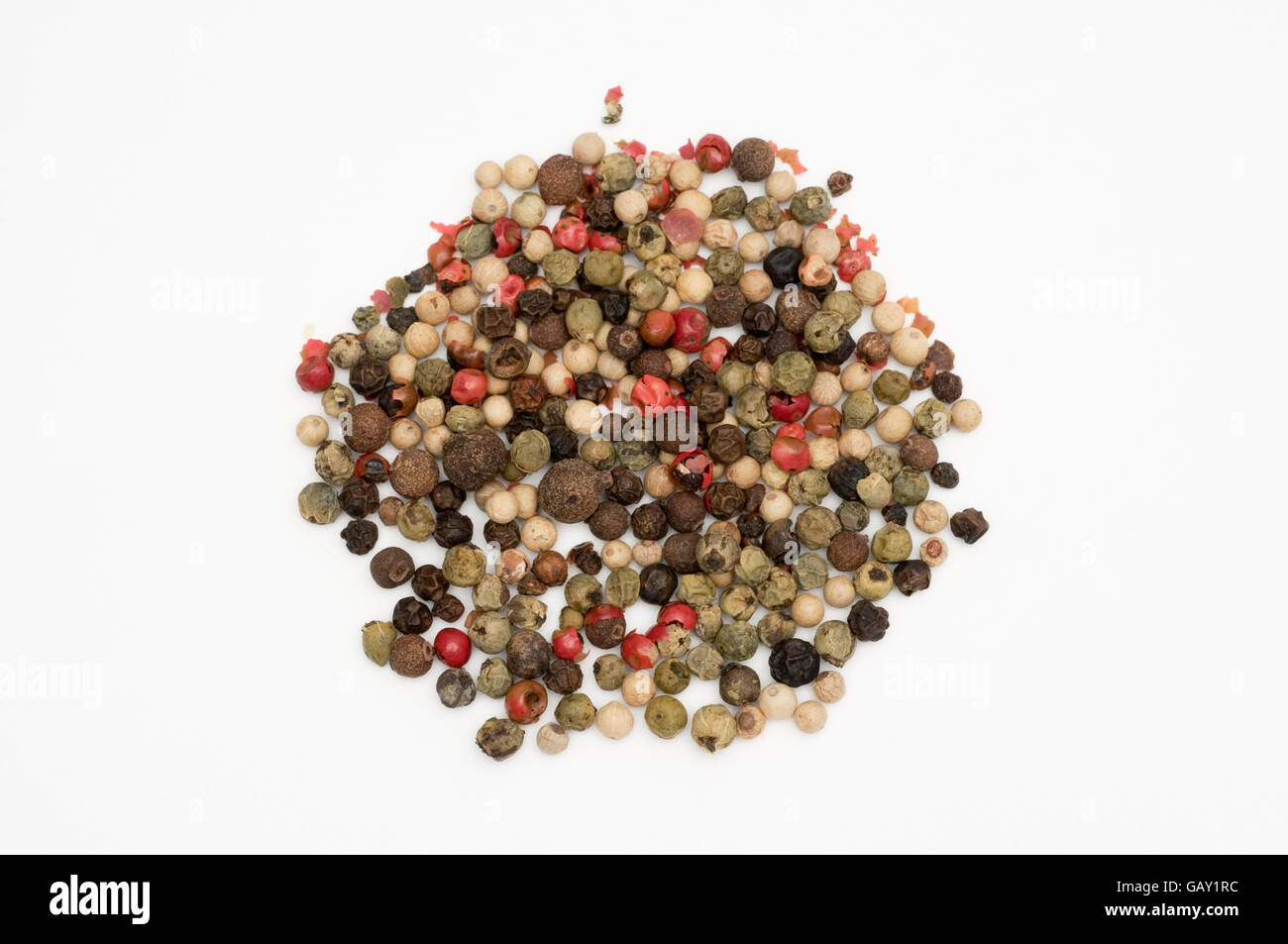 mixed peppercorns on white background - Stock Image