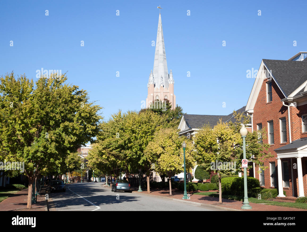 Empty sunny street in the city of Norfolk (West Virginia). Stock Photo