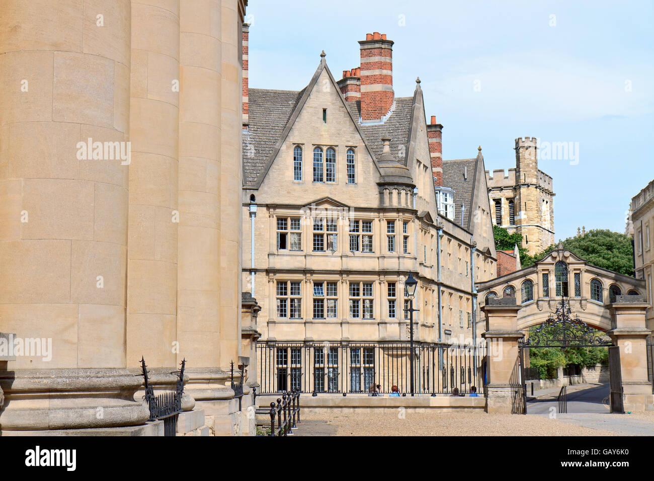 UK Oxford View Of Hertford College Stock Photo